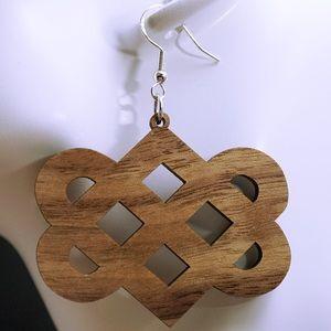 Walnut wood laser cut drop earrings style 30